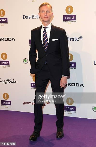 Max Raabe poses on the red carpet prior the Echo award 2014 at Messe Berlin on March 27 2014 in Berlin Germany