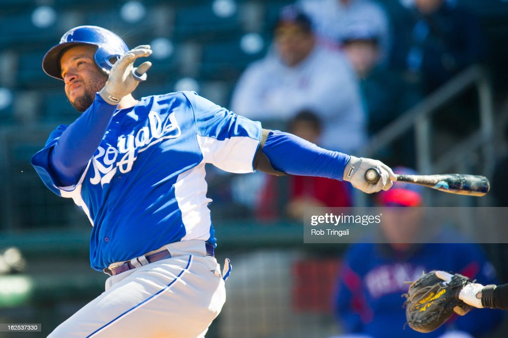 <a gi-track='captionPersonalityLinkClicked' href=/galleries/search?phrase=Max+Ramirez&family=editorial&specificpeople=4175170 ng-click='$event.stopPropagation()'>Max Ramirez</a> #63 of the Kansas City Royals bats during a spring training game against the Texas Rangers at Surprise Stadium on February 24, 2013 in Surprise, Arizona.