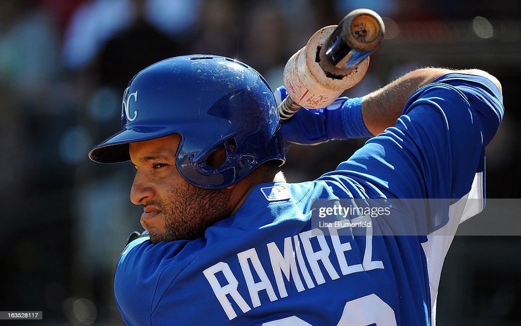 <a gi-track='captionPersonalityLinkClicked' href=/galleries/search?phrase=Max+Ramirez&family=editorial&specificpeople=4175170 ng-click='$event.stopPropagation()'>Max Ramirez</a> #63 of the Kansas City Royals waits on deck during the game against the Los Angeles Angels of Anaheim at Surprise Stadium on March 10, 2013 in Surprise, Arizona.