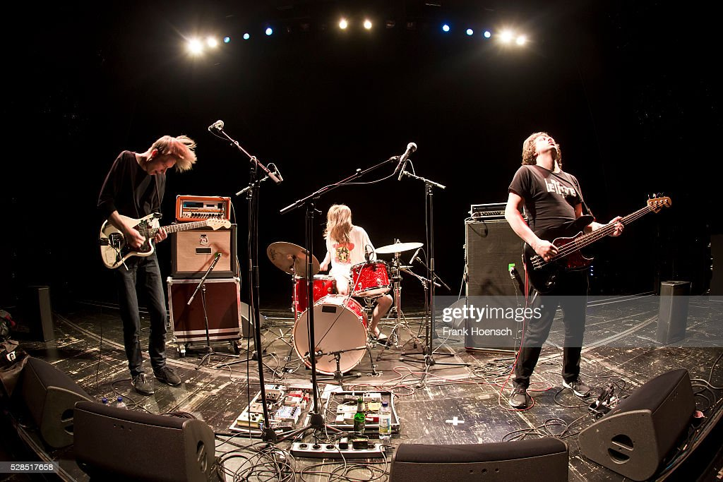 Max Rieger, Kevin Kuhn and Julian Knoth of the German band Die Nerven perform live during a concert at the Volksbuehne on May 5, 2016 in Berlin, Germany.