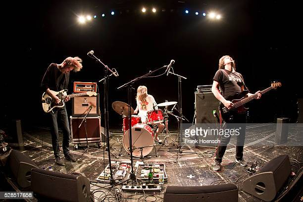 Max Rieger Kevin Kuhn and Julian Knoth of the German band Die Nerven perform live during a concert at the Volksbuehne on May 5 2016 in Berlin Germany