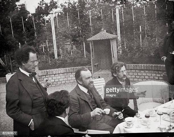 Max Rienhardt Gustav Mahler Carl Moll and Alfred Roller in the garden of the villa Carl Moll Photograph by Moriz Nhr Austria Vienna 1903 [Max...