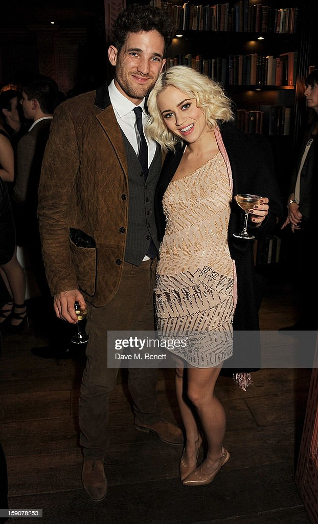 Max Rogers (L) and Kimberley Wyatt attends the Esquire and Tommy Hilfiger party celebrating London Collections: MEN AW13, hosted by Esquire editor Alex Bilmes and Tommy Hilfiger, at the Zetter Townhouse on January 7, 2013 in London, England.