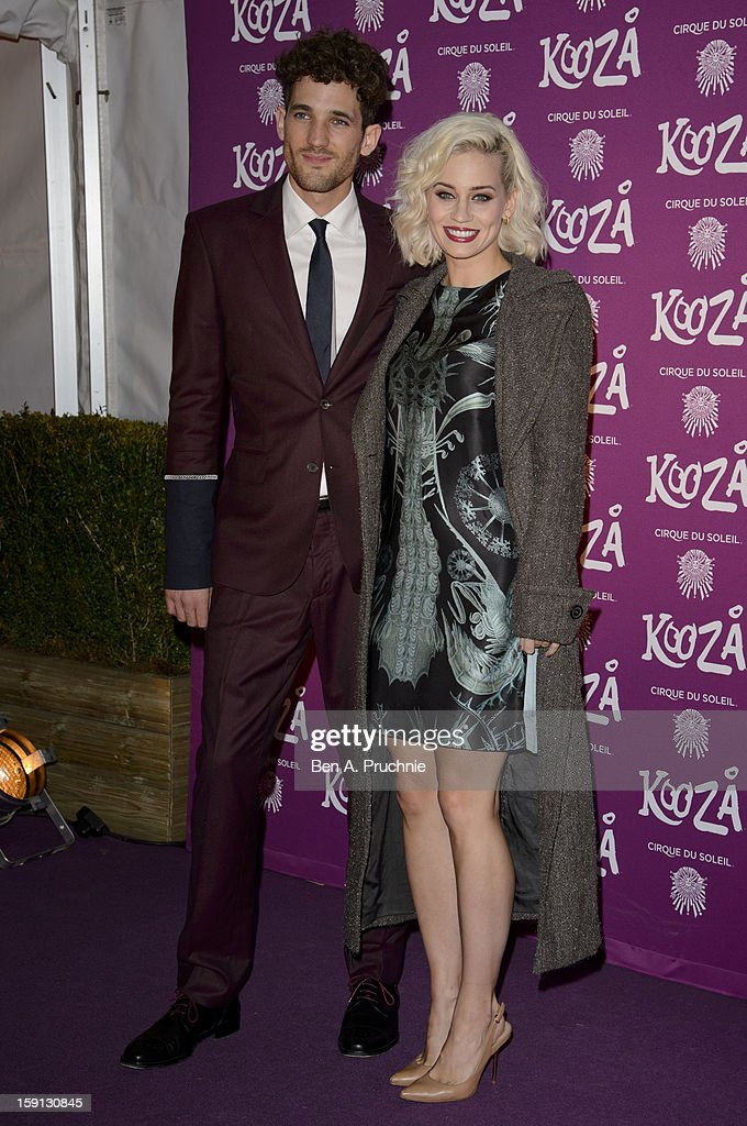 Max Rogers and Kimberly Wyatt attend the opening night of Cirque Du Soleil's Kooza at the Royal Albert Hall on January 8, 2013 in London, England.