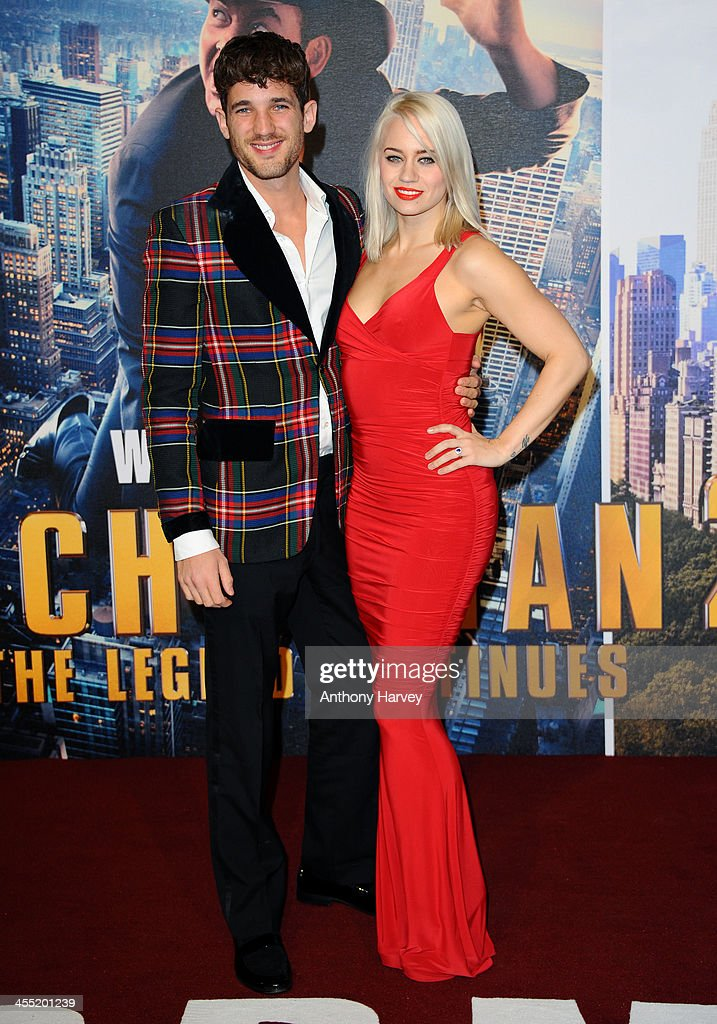 Max Rogers and Kimberly Wyatt attend the UK premiere of 'Anchorman 2: The Legend Continues' at Vue West End on December 11, 2013 in London, England.