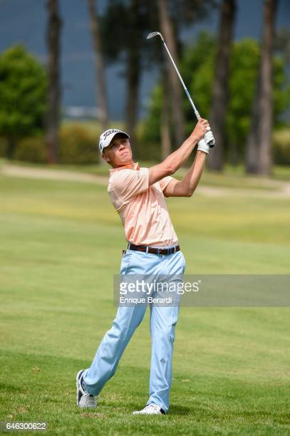 Max Rottluff of Germany hits from the 18th fairway during the final round of the PGA TOUR Latinoamerica 70 Avianca Colombia Open at Club Campestre...