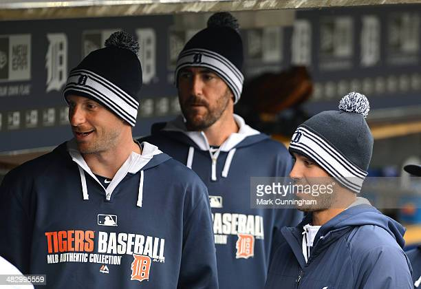 Max Scherzer Justin Verlander and Rick Porcello of the Detroit Tigers look on from the dugout during the game against the Baltimore Orioles at...