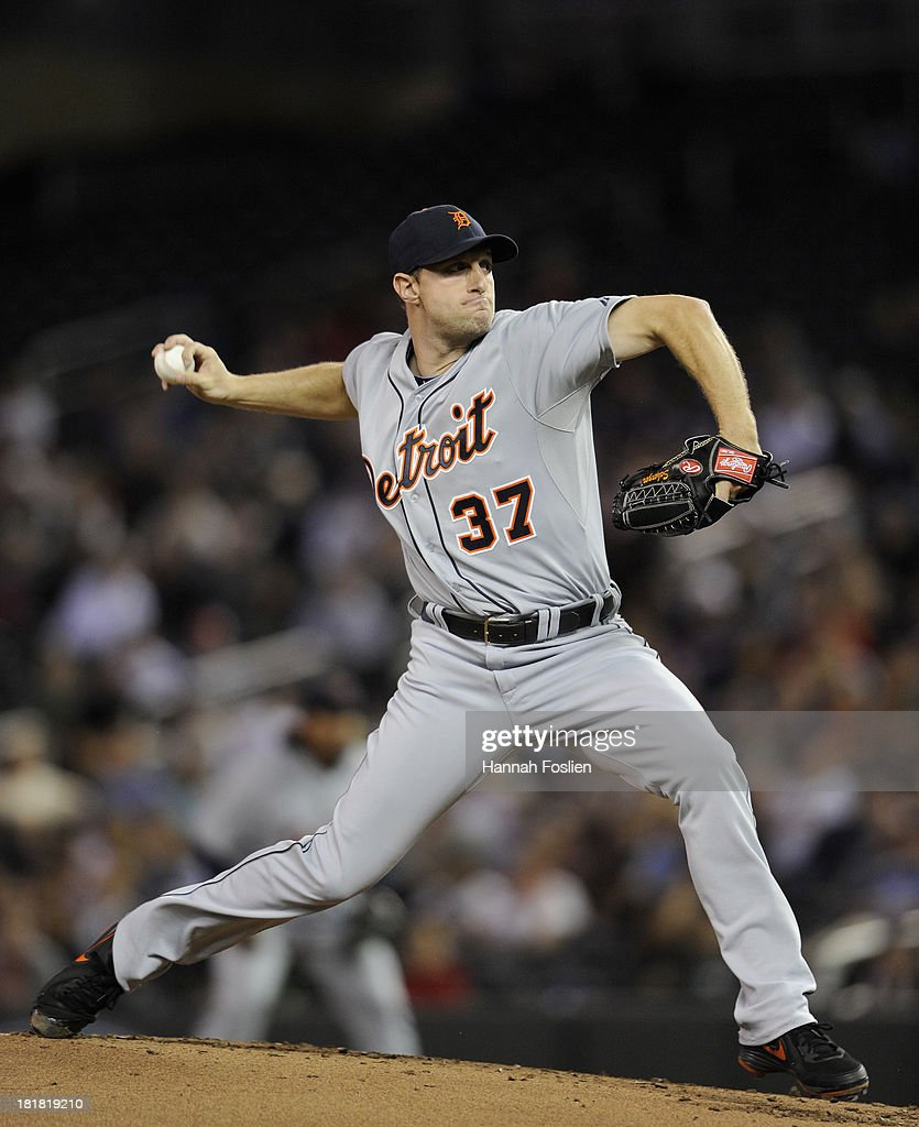 Max Scherzer #37 of the Detroit Tigers delivers a pitch against the Minnesota Twins during the first inning of the game on September 25, 2013 at Target Field in Minneapolis, Minnesota.