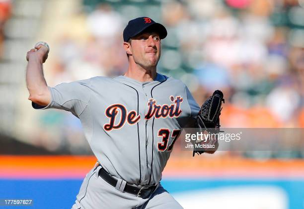 Max Scherzer of the Detroit Tigers pitches against the New York Mets at Citi Field on August 24 2013 in the Flushing neighborhood of the Queens...