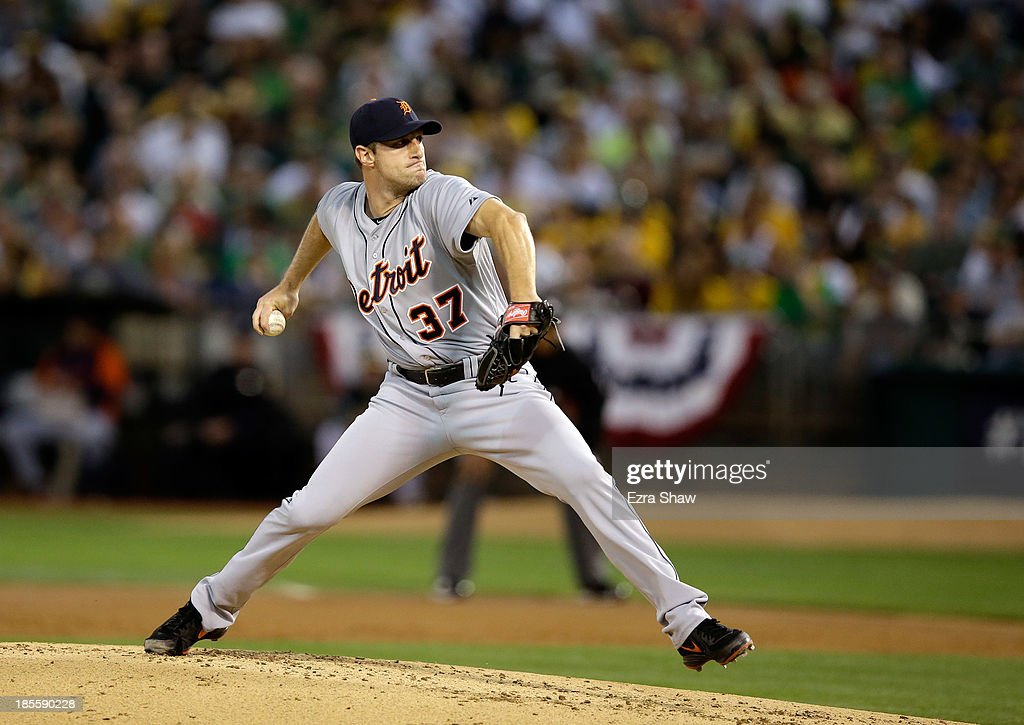 <a gi-track='captionPersonalityLinkClicked' href=/galleries/search?phrase=Max+Scherzer&family=editorial&specificpeople=594071 ng-click='$event.stopPropagation()'>Max Scherzer</a> #37 of the Detroit Tigers pitches against the Oakland Athletics at O.co Coliseum on October 4, 2013 in Oakland, California.