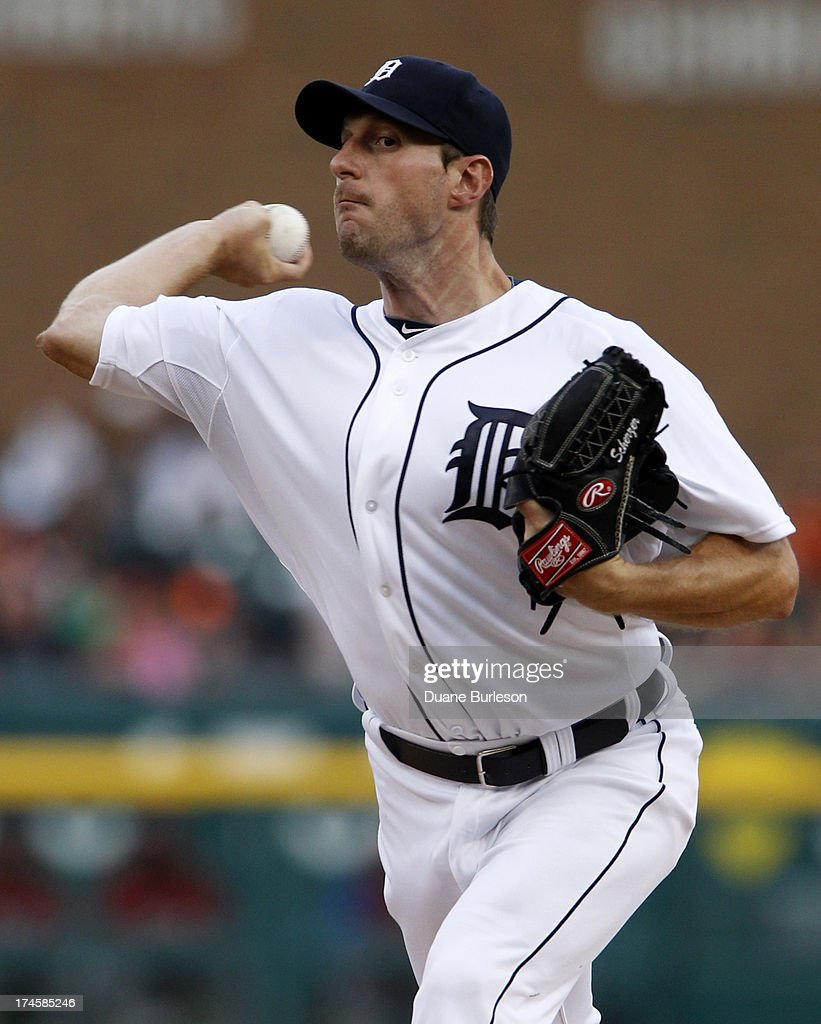<a gi-track='captionPersonalityLinkClicked' href=/galleries/search?phrase=Max+Scherzer&family=editorial&specificpeople=594071 ng-click='$event.stopPropagation()'>Max Scherzer</a> #37 of the Detroit Tigers pitches against the Philadelphia Philles in the first inning at Comerica Park on July 27, 2013 in Detroit, Michigan. Scherzer recorded his 15th win in the Tigers 10-0 shutout of the Phillies.