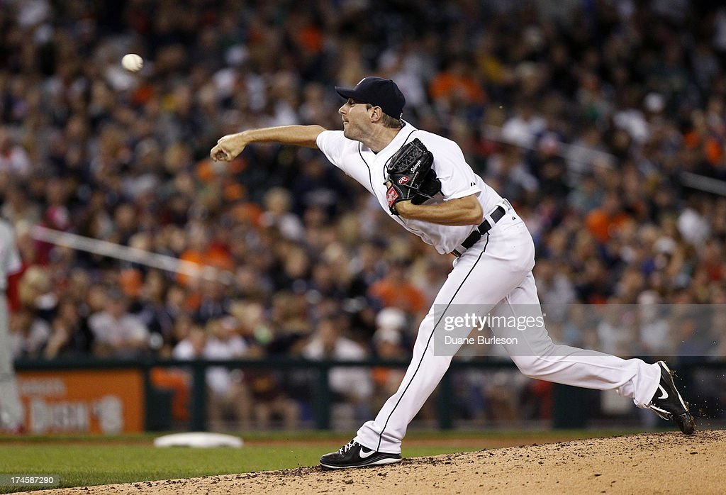 <a gi-track='captionPersonalityLinkClicked' href=/galleries/search?phrase=Max+Scherzer&family=editorial&specificpeople=594071 ng-click='$event.stopPropagation()'>Max Scherzer</a> #37 of the Detroit Tigers pitches against the Philadelphia Philles in the sixth inning at Comerica Park on July 27, 2013 in Detroit, Michigan. Scherzer recorded his 15th winn in a 10-0 shutout of the Phillies.