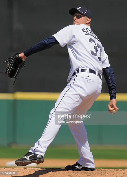 Max Scherzer of the Detroit Tigers pitches against the Toronto Blue Jays during a spring training game at Joker Marchant Stadium on March 4 2010 in...