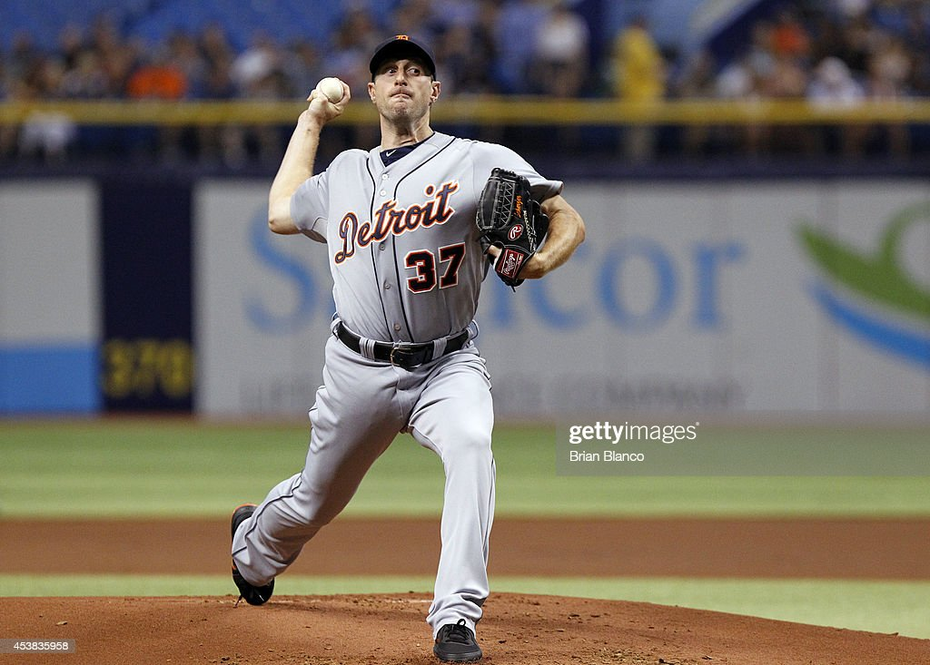 <a gi-track='captionPersonalityLinkClicked' href=/galleries/search?phrase=Max+Scherzer&family=editorial&specificpeople=594071 ng-click='$event.stopPropagation()'>Max Scherzer</a> #37 of the Detroit Tigers pitches during the first inning of a game against the Tampa Bay Rays on August 19, 2014 at Tropicana Field in St. Petersburg, Florida.