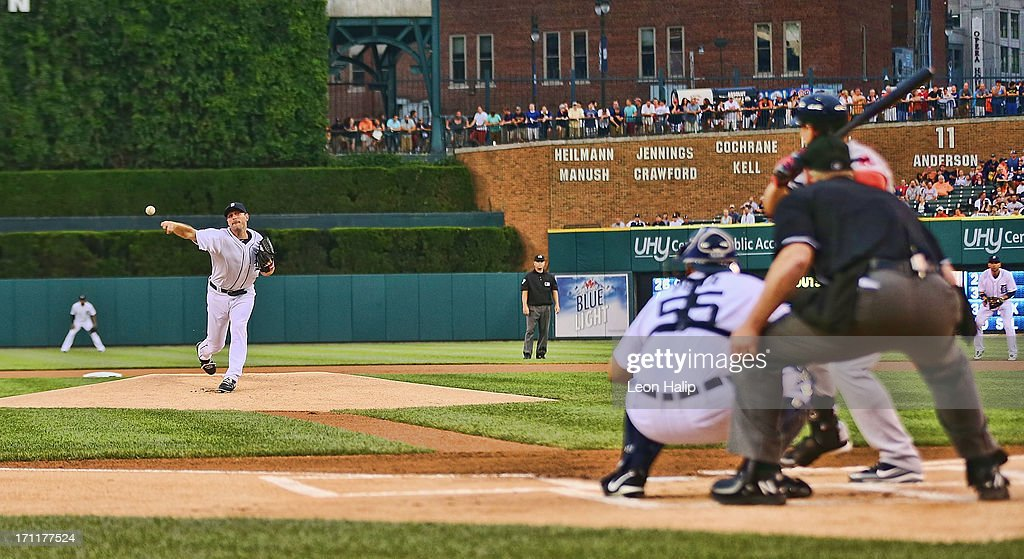 <a gi-track='captionPersonalityLinkClicked' href=/galleries/search?phrase=Max+Scherzer&family=editorial&specificpeople=594071 ng-click='$event.stopPropagation()'>Max Scherzer</a> #37 of the Detroit Tigers pitches in the first inning during the game against the Boston Red Sox at Comerica Park on June 22, 2013 in Detroit, Michigan. The Tigers defeated the Red Sox 10-3.