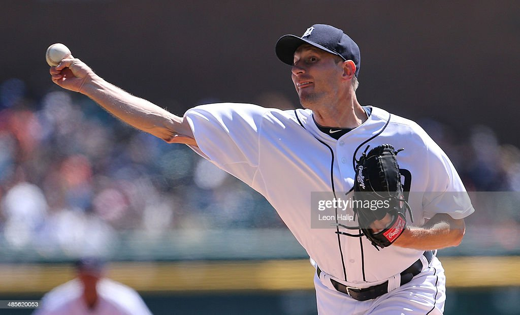 Max Scherzer #37 of the Detroit Tigers pitches in the first inning of the game against the Los Angeles Angels of Anaheim at Comerica Park on April 19, 2014 in Detroit, Michigan.
