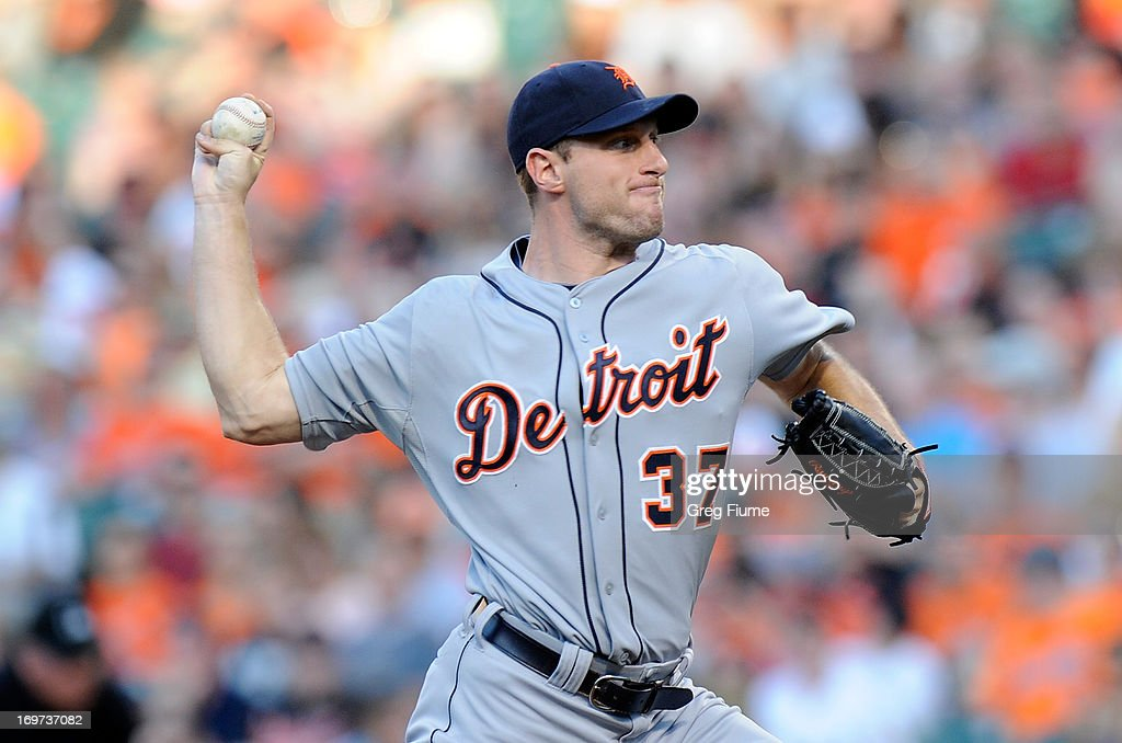 <a gi-track='captionPersonalityLinkClicked' href=/galleries/search?phrase=Max+Scherzer&family=editorial&specificpeople=594071 ng-click='$event.stopPropagation()'>Max Scherzer</a> #37 of the Detroit Tigers pitches in the first inning against the Baltimore Orioles at Oriole Park at Camden Yards on May 31, 2013 in Baltimore, Maryland.