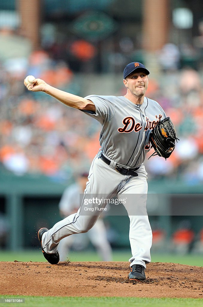 <a gi-track='captionPersonalityLinkClicked' href=/galleries/search?phrase=Max+Scherzer&family=editorial&specificpeople=594071 ng-click='$event.stopPropagation()'>Max Scherzer</a> #37 of the Detroit Tigers pitches in the second inning against the Baltimore Orioles at Oriole Park at Camden Yards on May 31, 2013 in Baltimore, Maryland.