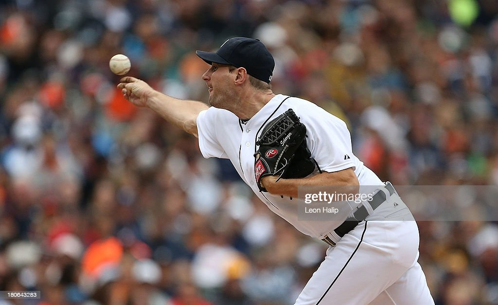 <a gi-track='captionPersonalityLinkClicked' href=/galleries/search?phrase=Max+Scherzer&family=editorial&specificpeople=594071 ng-click='$event.stopPropagation()'>Max Scherzer</a> #37 of the Detroit Tigers pitches in the seventh inning of the game against the Kansas City Royals at Comerica Park on September 15, 2013 in Detroit, Michigan.