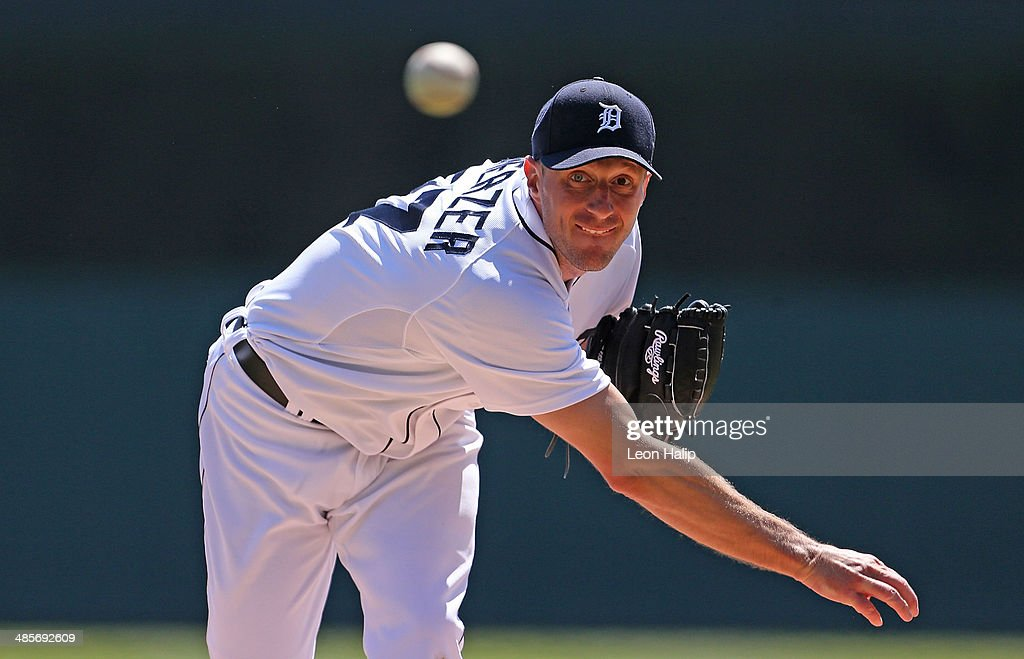 Max Scherzer #37 of the Detroit Tigers pitches in the third inning of the game against the Los Angeles Angels of Anaheim at Comerica Park on April 19, 2014 in Detroit, Michigan. The Tigers defeated the Angels 5-2.