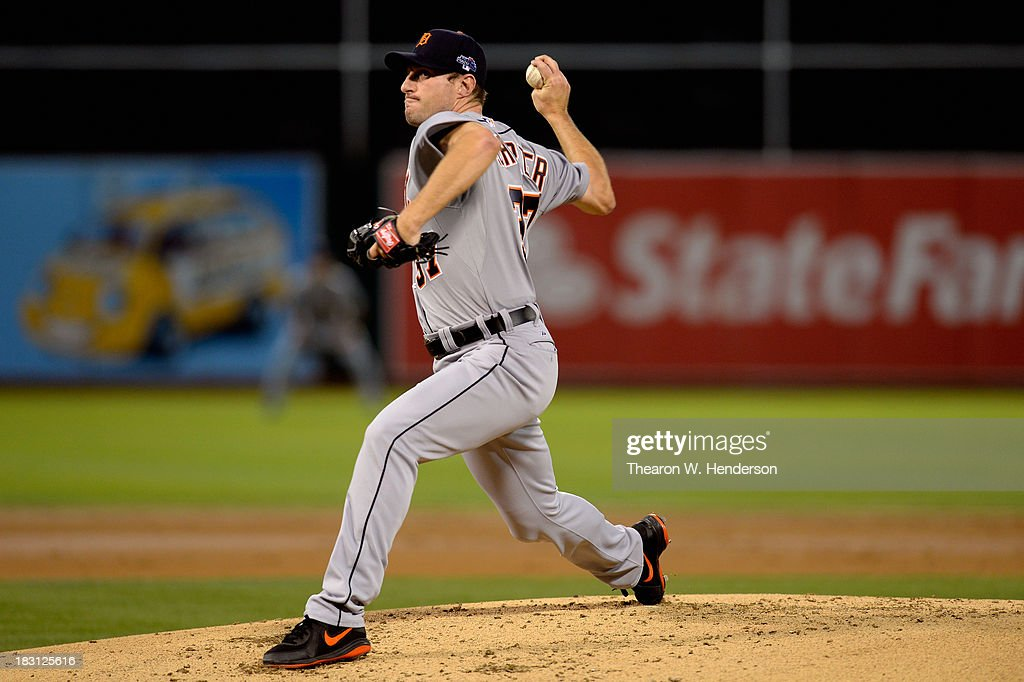 <a gi-track='captionPersonalityLinkClicked' href=/galleries/search?phrase=Max+Scherzer&family=editorial&specificpeople=594071 ng-click='$event.stopPropagation()'>Max Scherzer</a> #37 of the Detroit Tigers throws a pitch in the first inning against the Oakland Athletics during Game One of the American League Division Series at O.co Coliseum on October 4, 2013 in Oakland, California.