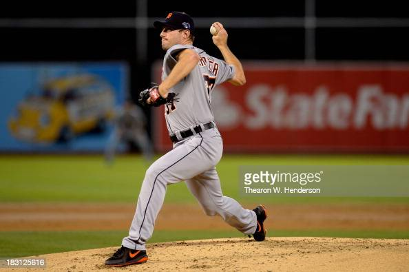Max Scherzer of the Detroit Tigers throws a pitch in the first inning against the Oakland Athletics during Game One of the American League Division...