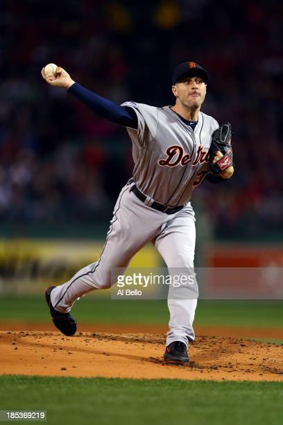 Max Scherzer of the Detroit Tigers throws a pitch in the first inning against the Boston Red Sox during Game Six of the American League Championship...