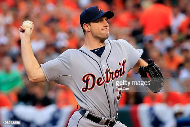 Max Scherzer of the Detroit Tigers throws a pitch in the first inning against the Baltimore Orioles during Game One of the American League Division...