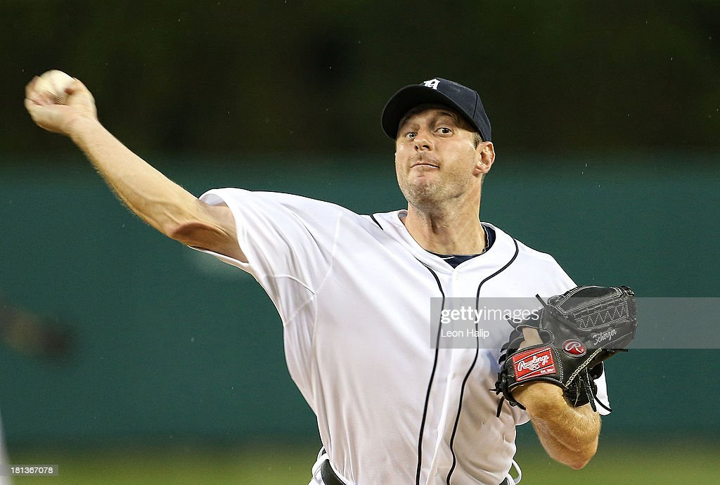 Max Scherzer #37 of the Detroit Tigers warms up prior to the start of the game against the Chicago White Sox at Comerica Park on September 20, 2013 in Detroit, Michigan.