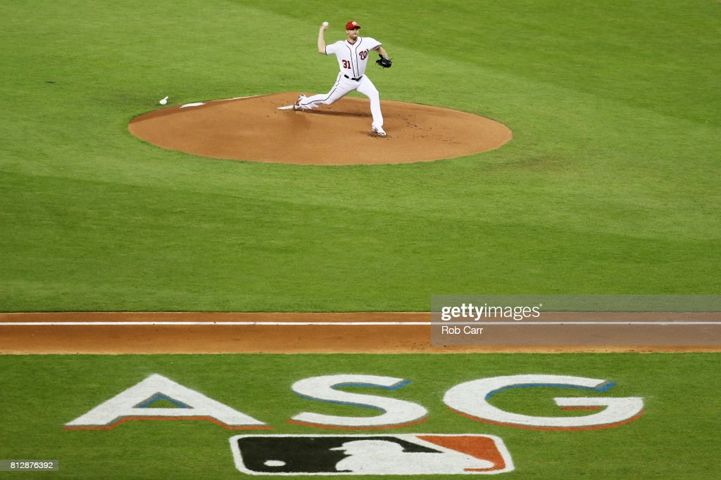 Max Scherzer #31 of the Washington Nationals and the National League throws a pitch in the first inning during the 88th MLB All-Star Game at Marlins Park on July 11, 2017 in Miami, Florida.
