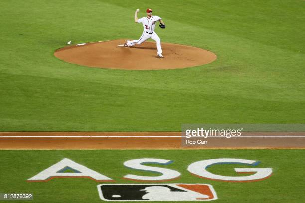 Max Scherzer of the Washington Nationals and the National League throws a pitch in the first inning during the 88th MLB AllStar Game at Marlins Park...