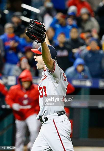 Max Scherzer of the Washington Nationals celebrates his no hitter against the New York Mets after their game at Citi Field on October 3 2015 in New...