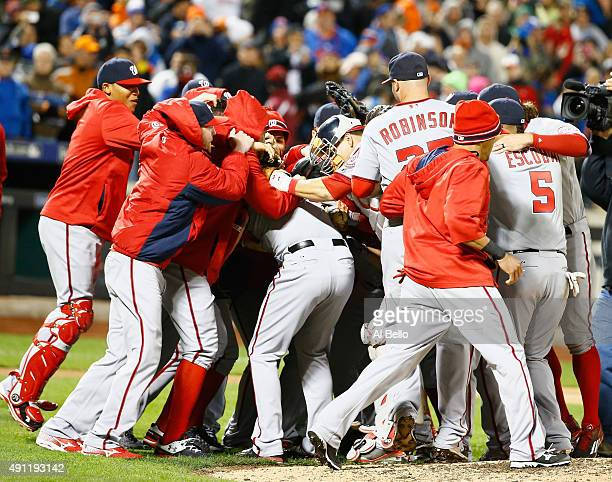 Max Scherzer of the Washington Nationals celebrates his no hitter with his teamates against the New York Mets after their game at Citi Field on...