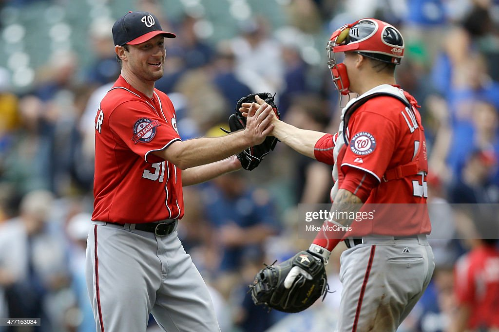 <a gi-track='captionPersonalityLinkClicked' href=/galleries/search?phrase=Max+Scherzer&family=editorial&specificpeople=594071 ng-click='$event.stopPropagation()'>Max Scherzer</a> #31 of the Washington Nationals celebrates with Jose Lobaton #59 after pitching a one hitter in the 4-0 win over the Milwaukee Brewers at Miller Park on June 14, 2015 in Milwaukee, Wisconsin.