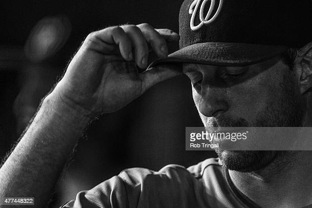 Max Scherzer of the Washington Nationals in the dugout during the game against the New York Yankees at Yankee Stadium on June 9 2015 in the Bronx...