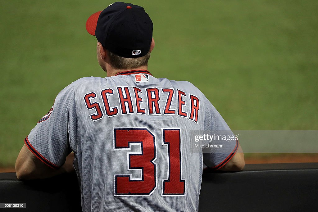 Max Scherzer #31 of the Washington Nationals looks on during a game against the Miami Marlins at Marlins Park on September 19, 2016 in Miami, Florida.