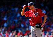 Max Scherzer of the Washington Nationals on the mound against the Philadelphia Phillies in a game at Citizens Bank Park on April 12 2015 in...