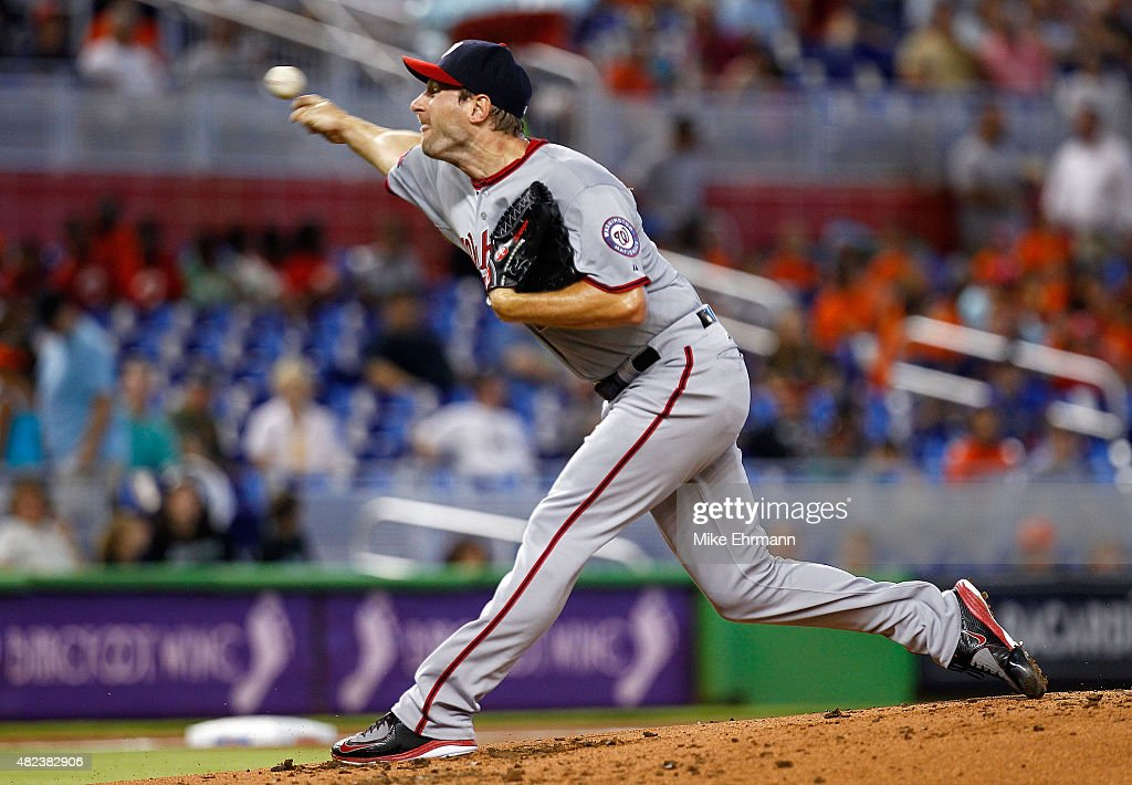 Max Scherzer #31 of the Washington Nationals pitches during a game against the Miami Marlins at Marlins Park on July 30, 2015 in Miami, Florida.