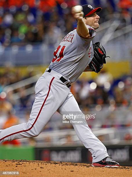 Max Scherzer of the Washington Nationals pitches during a game against the Miami Marlins at Marlins Park on July 30 2015 in Miami Florida