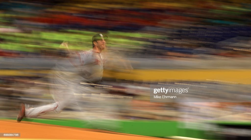 Max Scherzer #31 of the Washington Nationals pitches during a game against the Miami Marlins at Marlins Park on June 21, 2017 in Miami, Florida.
