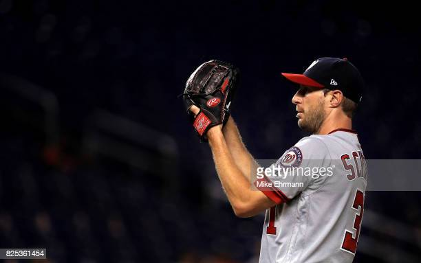 Max Scherzer of the Washington Nationals pitches during a game against the Miami Marlins at Marlins Park on August 1 2017 in Miami Florida
