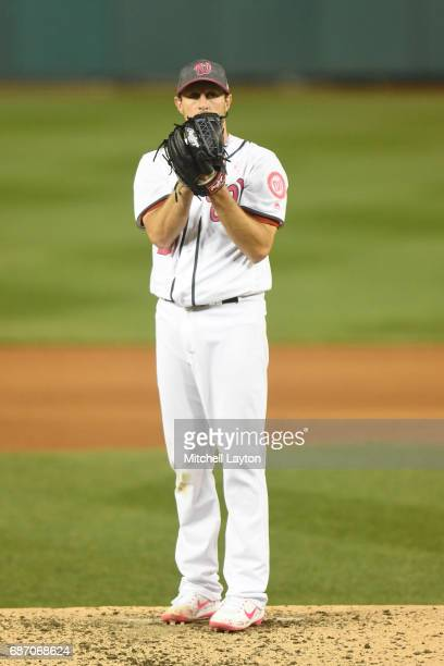 Max Scherzer of the Washington Nationals pitches during game two of baseball game against the Philadelphia Phillies at Nationals Park on May 14 2017...