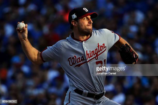 Max Scherzer of the Washington Nationals pitches in the fourth inning against the Chicago Cubs during game three of the National League Division...