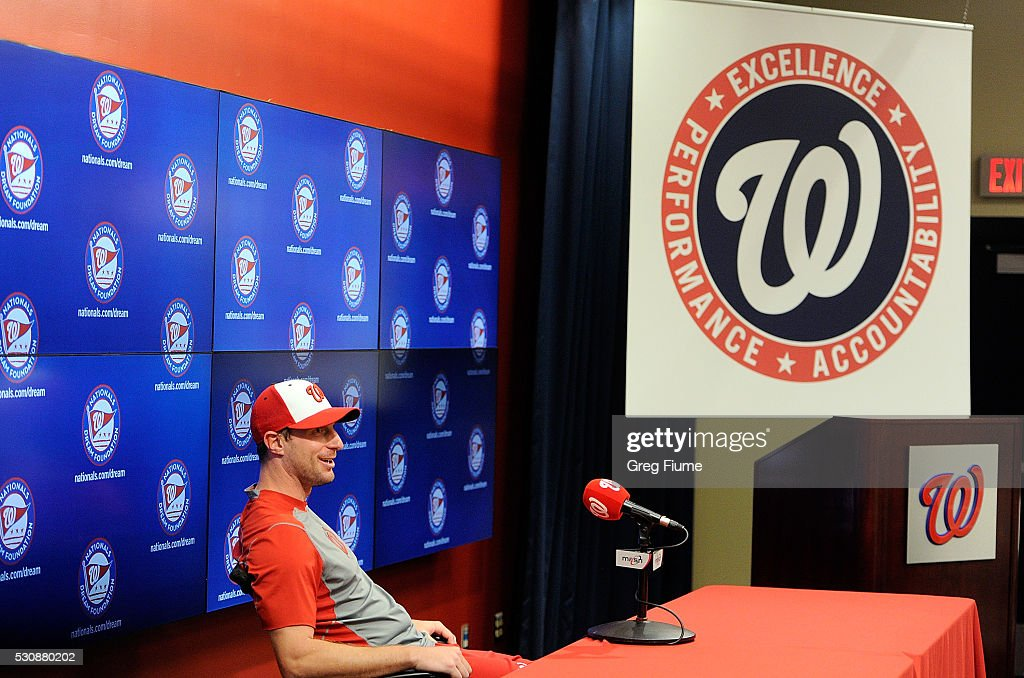 Max Scherzer #31 of the Washington Nationals waits to talk to the press after tying the MLB record for strikeouts in a game with 20 against the Detroit Tigers at Nationals Park on May 11, 2016 in Washington, DC.