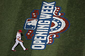 Max Scherzer of the Washington Nationals walks off the field after the top of the first inning during Opening Day at Nationals Park on April 6 2015...