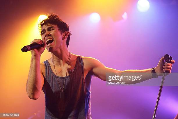 Max Schneider performs on stage during the kickoff for his 'Nothing Without Love' summer tour at The Roxy Theatre on June 1 2013 in West Hollywood...