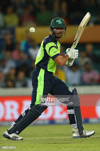 Max Sorensen of Ireland bats during the 2015 ICC Cricket World Cup match between South Africa and Ireland at Manuka Oval on March 3 2015 in Canberra...