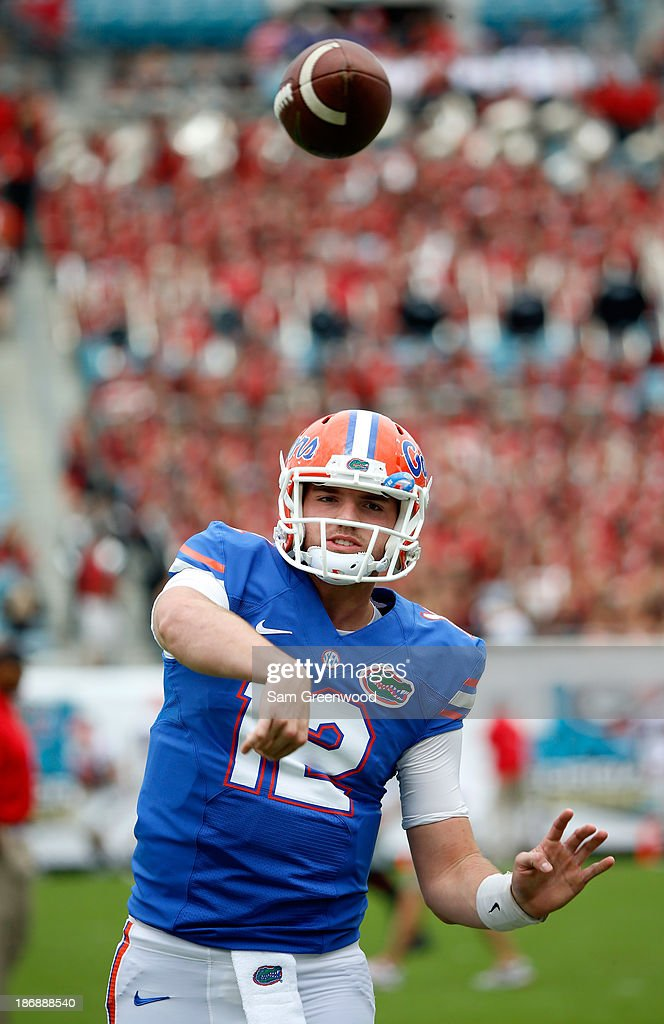 Max Staver #12 of the Florida Gators warms up before the game against the Georgia Bulldogs at EverBank Field on November 2, 2013 in Jacksonville, Florida.