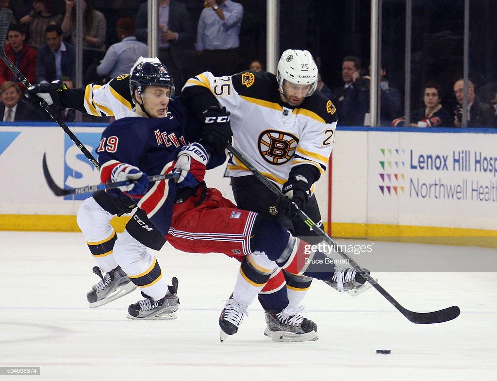 Max Talbot #25 of the Boston Bruins checks Jesper Fast #19 of the New York Rangers during the first period at Madison Square Garden on January 11, 2016 in New York City.