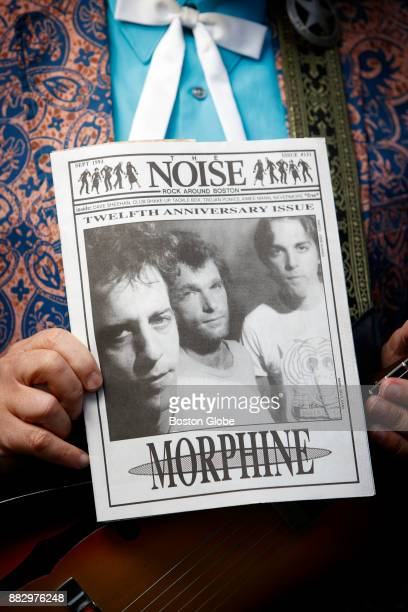 Max the publisher and founder of the Boston music magazine The Noise holds a copy of the publication's September 1993 Twelfth Anniversary Issue in...